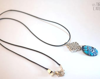 Fine ethnic necklace in shades of blue, Bohemian, unique, colorful, psychedelic