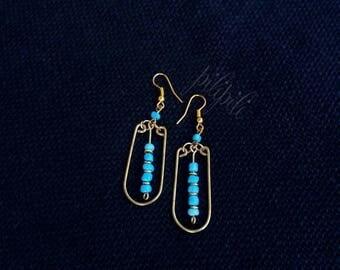 drop earrings, colorful earrings, brass wire earrings, artisan earrings, gift for her, everyday earrings