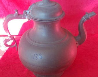 Vintage Old Style Very Rustic Antique Hand Crafted Ottoman Art Style Brass Teapot #1497