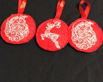 Handmade felt embroidered Christmas ornaments