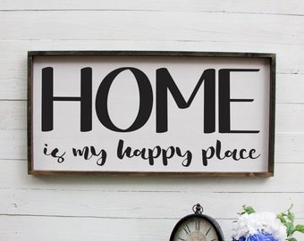 Home Is My Happy Place, Rustic Foyer Sign, Wooden Rustic Sign, Entryway Decor Farmhouse Decor Foyer Rustic, Rustic Entryway Sign, Wooden