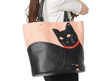 Chigracci/Cat Tote/[Neko Tote]/Kuroneko/original design/Pink