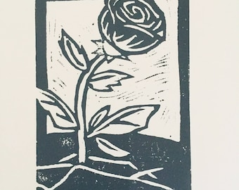 Roses From Concrete--Hand-Printed Linocut