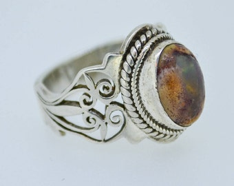 CUTE Boulder opal vintage sterling silver ring filigree cut out design unique handmade