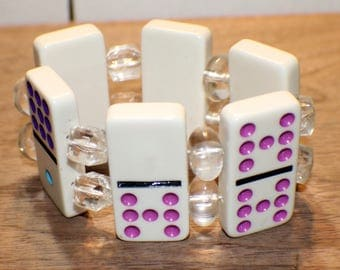 Vintage Domino Bracelet - White Plastic Dominoes - Recycled - Lucite Bead Spacers - Game Piece Collection