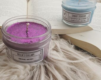 Edward's Bedroom & Bella's Lullaby Set - 4 oz Bookish Candle - Twilight - Wilted Wicks