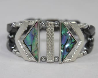 Abalone & Silver Tone High Quality Magnetic Bracelet