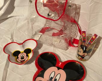Plastic Dinnerware Set with Backpack Disney Mickey Mouse