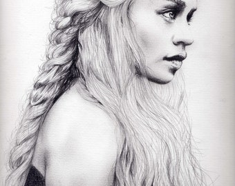 Daenerys Targaryen-Khaleesi Charcoal Portrait Printing On Canvas, Wall Art, Canvas Prints, Room Deco, Famous, Emilia Clarke, Game of Thrones