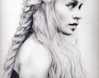 Daenerys Targaryen-Khaleesi Charcoal Portrait Printing On Canvas, Wall Art, Canvas Prints, Room Deco, Famous, Emilia Clarke, Game of Thrones
