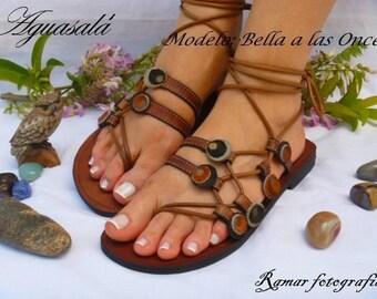 Handmade leather sandals, women's sandals, brown sandals, strap sandals,