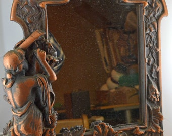 Large Vintage Ornate Very Heavy and Solid Dresser Mirror
