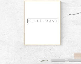 HALLELUJAH Wall Art, PDF Printable Wall Decor