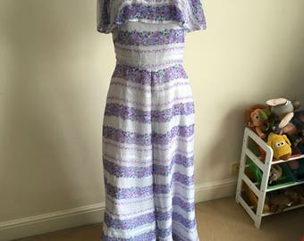 Vintage Lavender Purple Floral Floaty Caped Maxi Dress