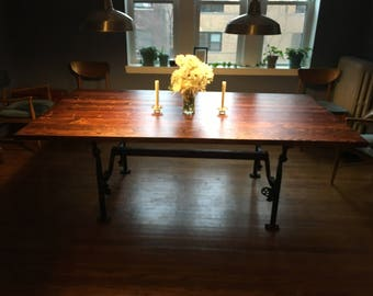Modern Industrial Butcher Block Table with Steel Legs