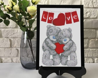 Teddy Bear's Love Cross Stitch Pattern PDF