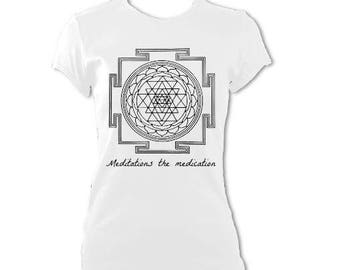 womens SRI YANTRA, Meditation is the medication, yoga T-shirt top