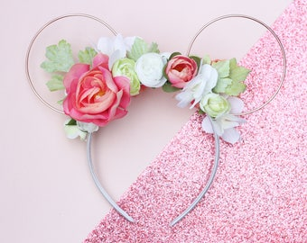 Peach Floral Wire Mouse Ears