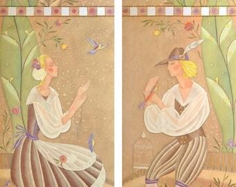 Custom Sheer Handpainted Curtains Panels Bird Catcher