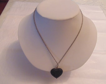 Black Puffy Heart Pendant Necklace