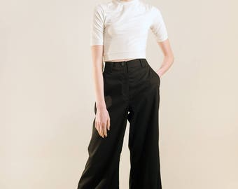 High waisted black pants / high waisted wide leg pants / high waist wide leg pants