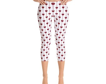 Women's Little Hearts- Capri Leggings,Beautiful Pattern leggings, full printed, Printful, USA,Made for you, Modern,Trendy Design store,