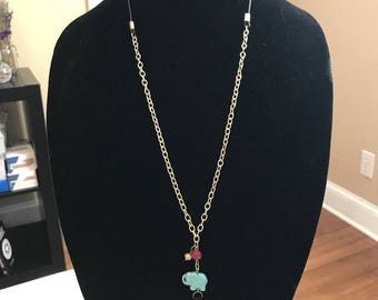 Turquoise Dyed Howlite Stone Elephant Tassel Necklace and Earrings Set