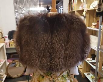 Silver fox fur cape