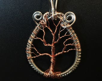 Multicolor wrapped tree of life pendant