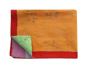 Vintage Sari Patchwork Kantha Quilt Reversible Kantha Blanket Indian Cotton Kantha Bedspread Twin Size Kantha Throw Boho Kantha Bed Cover