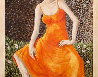 Daisies and Orange Art Acrylic Painting Giclee Print