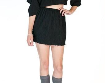 Redesigned Vintage Crinkle Crepe Cold Shoulder Skirt Set (2 Pieces)