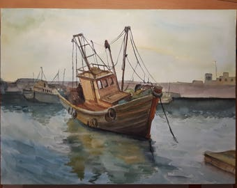 Fishing boat watercolor