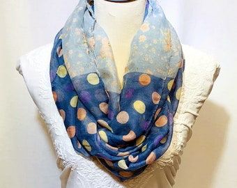 Shaded blue printed scarf   summer collection   lightweight   handwoven