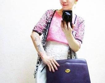 Fiber Street VINTAGE! classic beautiful purple Crocodile Embossed metal details bag