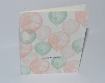 Hand Stamped Balloon Birthday Card