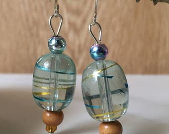 Pale blue and gold Bead drop earring