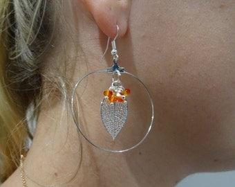 """""""Créole"""" earrings - earrings lightweight - dainty jewelry - handmade - Orange swarovski pearls - women gift"""