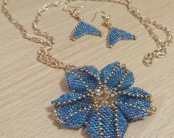Turquoise Gold Miyuki Necklace Earring Set