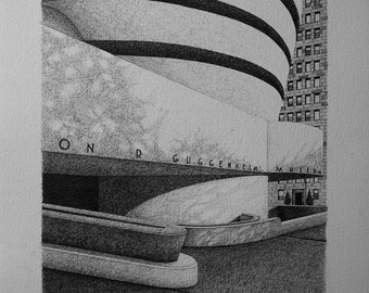 Ink drawing of city New York illustration
