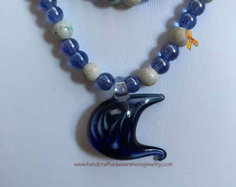 "At the Seashore 24"" Necklace, Blue Glass Beaded Necklace, Semi-Precious Stone Necklace, Blue Glass Pendant"