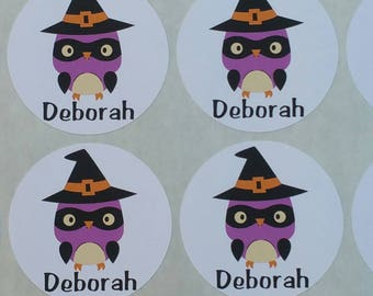 Personalized Witch Owl Stickers for Back to School, Name labels, cards, etc set of 20