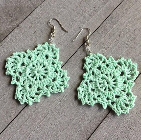 Gypsy Lace Crochet Earrings Handmade Lace in Mint Green // Boho Chic Crocheted Dangle Earrings // Statement Earrings, Gift for Her