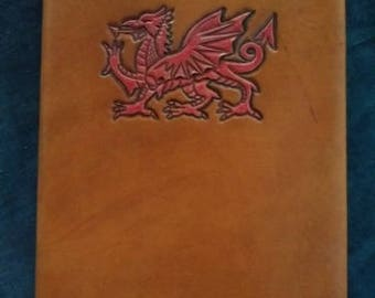 Celtic Leather Journal Welsh Dragon on Saddle Tan