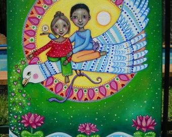 Garuda Original Acrylic Painting Lakshmi and Vishnu Flying Garuda Art by Lindy Longhurst Affirmation Card Painting Lakshmi Vishnu Garuda Art