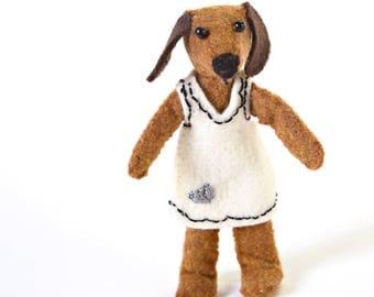 tiny stuffed animals - girl dog - tiny animal - dog bendy doll
