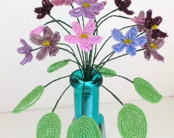 Beaded Flowers Variety of French Beaded Violets and Vase