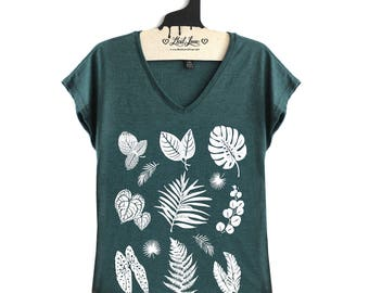 XL - Forest Green V-neck Tee with Plants Screen Print