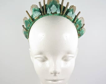 Green Quartz and Eucalyptus Crystal Tiara - by Loschy Designs
