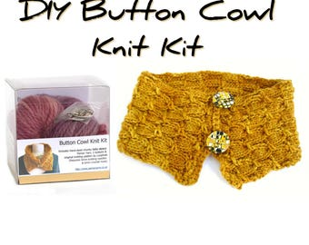 Knitting kit, button cowl scarf knit kit, easy DIY knitting project, bulky baby alpaca scarf, uk seller, make it yourself